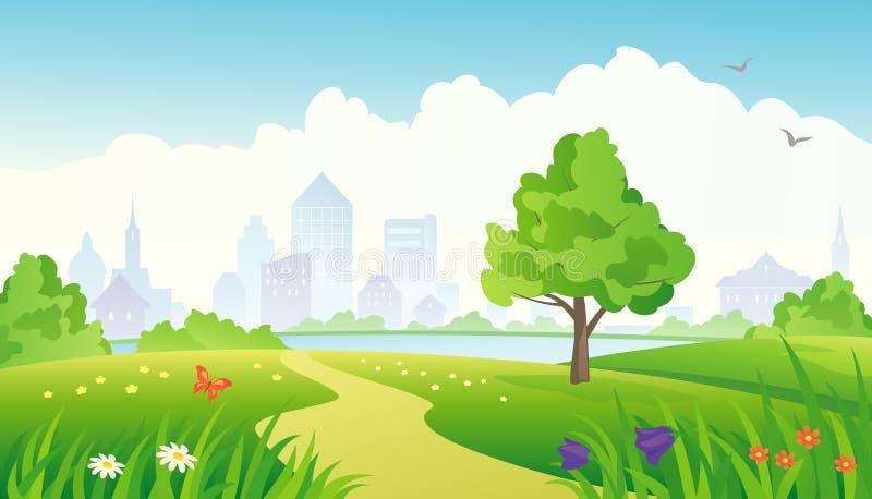 путь парка города иллюстрация вектора