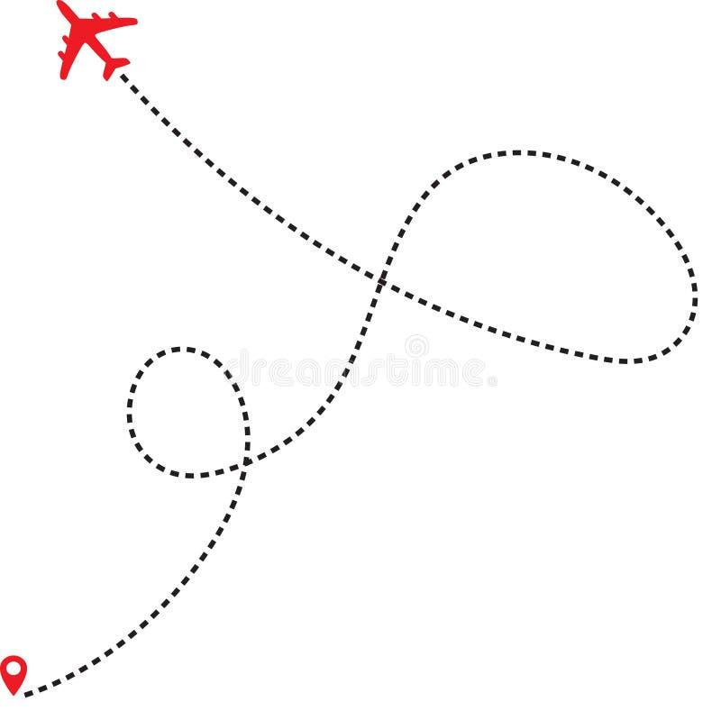 Путь пунктирной линии самолета маршрута полета самолета воздуха с пунктом начала и трассировкой штрихового пунктира иллюстрация вектора