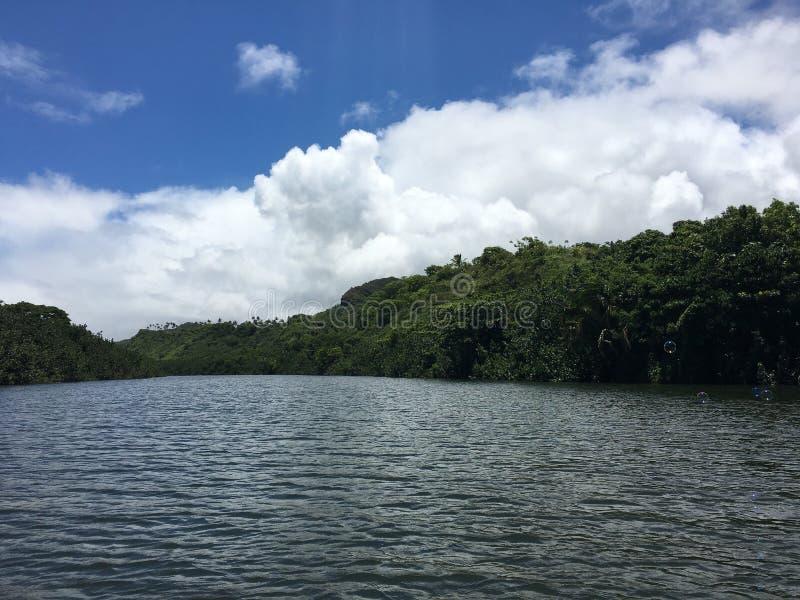 Путь реки Wailua к падениям Uluwehi, секретным падениям летом в Wailua на острове Кауаи в Гаваи стоковые изображения rf