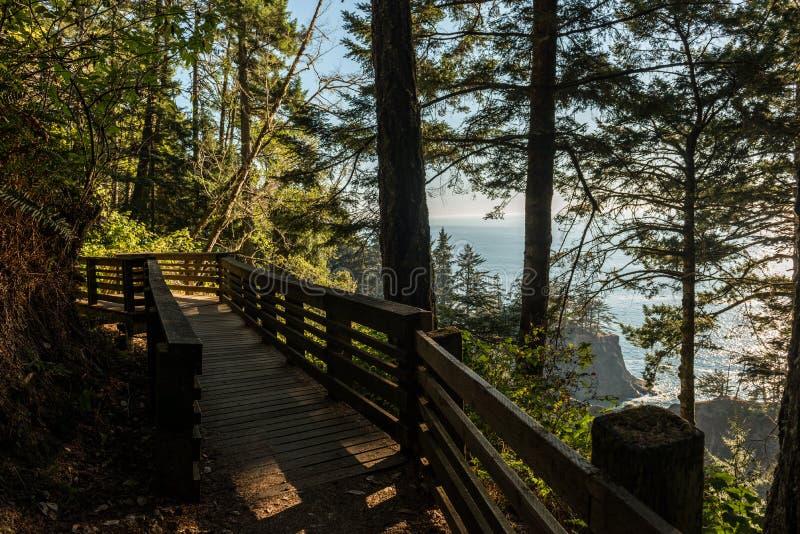 Путь с деревянными перилами которые дают доступ к зоне южного побережья Орегона, США стоковая фотография rf