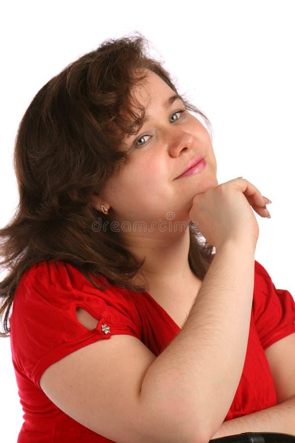 пухлая мечтая девушка стоковые изображения