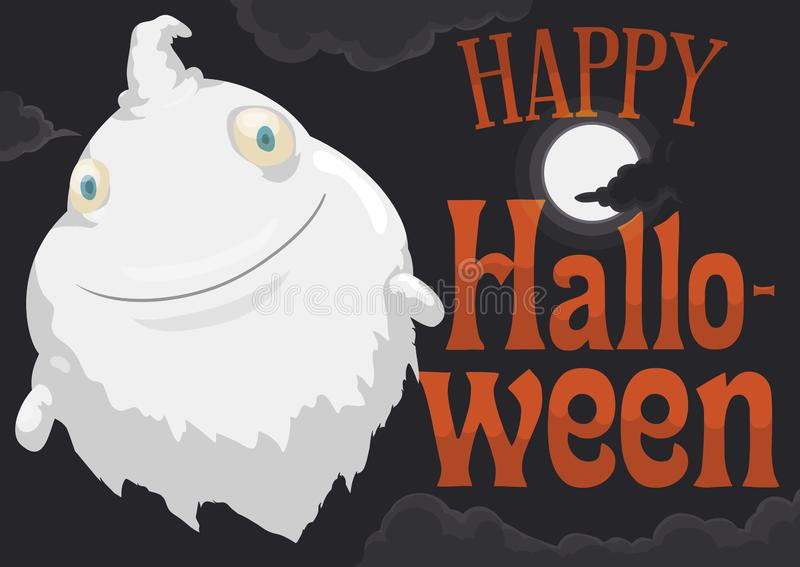 Пухлое летание призрака во время ночи полнолуния хеллоуина, иллюстрации вектора иллюстрация вектора