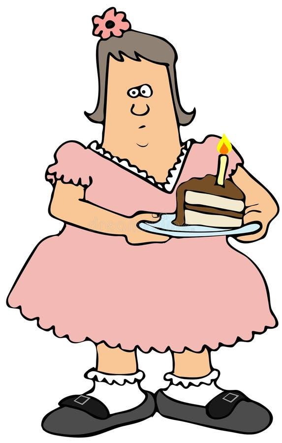 Пухлая девушка есть именниный пирог иллюстрация вектора
