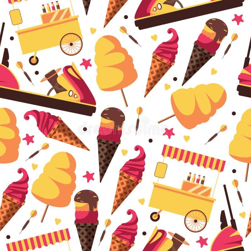 Пушистая конфета хлопка, мороженое и тележка еды в безшовной картине о парке атракционов, праздниках и времени семьи тратят совме иллюстрация вектора