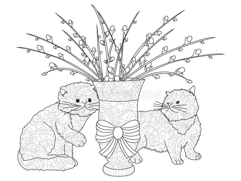 Пушистые букеты вербы pussy, 2 котят Расположение в вазе Анти- расцветка стресса, вектор бесплатная иллюстрация