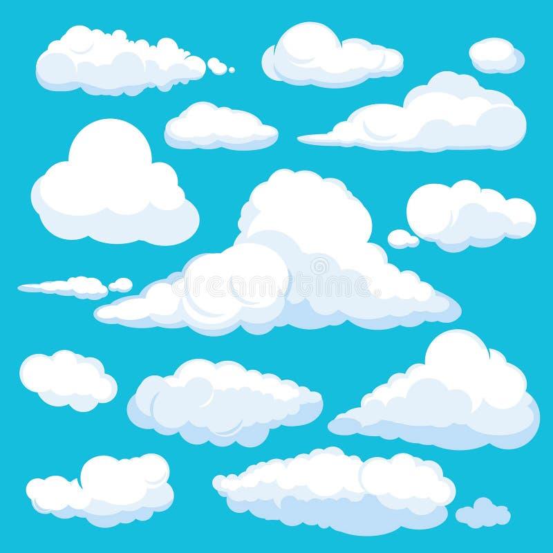 Пушистые облака мультфильма Посветите панораме иллюстрации погоды неба чистый вектор установил изолированный иллюстрация штока
