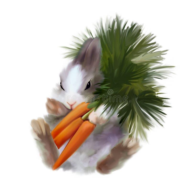 Пушистый зайчик с букетом морковей иллюстрация штока