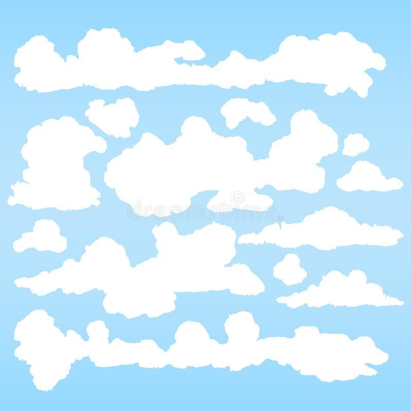 Пушистый набор вектора облаков - собрание стилизованного облака для предпосылки неба бесплатная иллюстрация