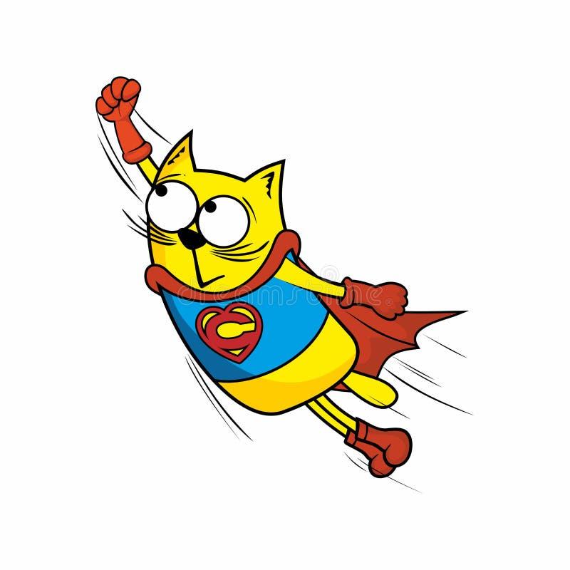 пушка командира шаржа его секундомер воина иллюстрации Изумительный кот героя иллюстрация вектора