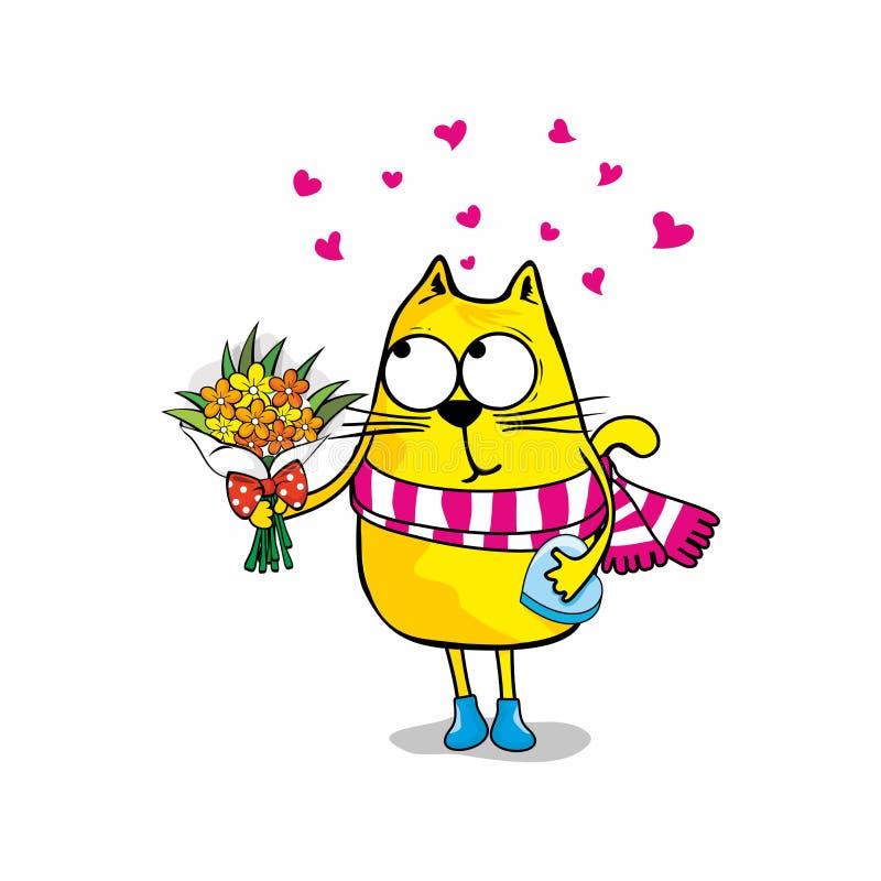 пушка командира шаржа его секундомер воина иллюстрации Полюбите кота с цветками бесплатная иллюстрация
