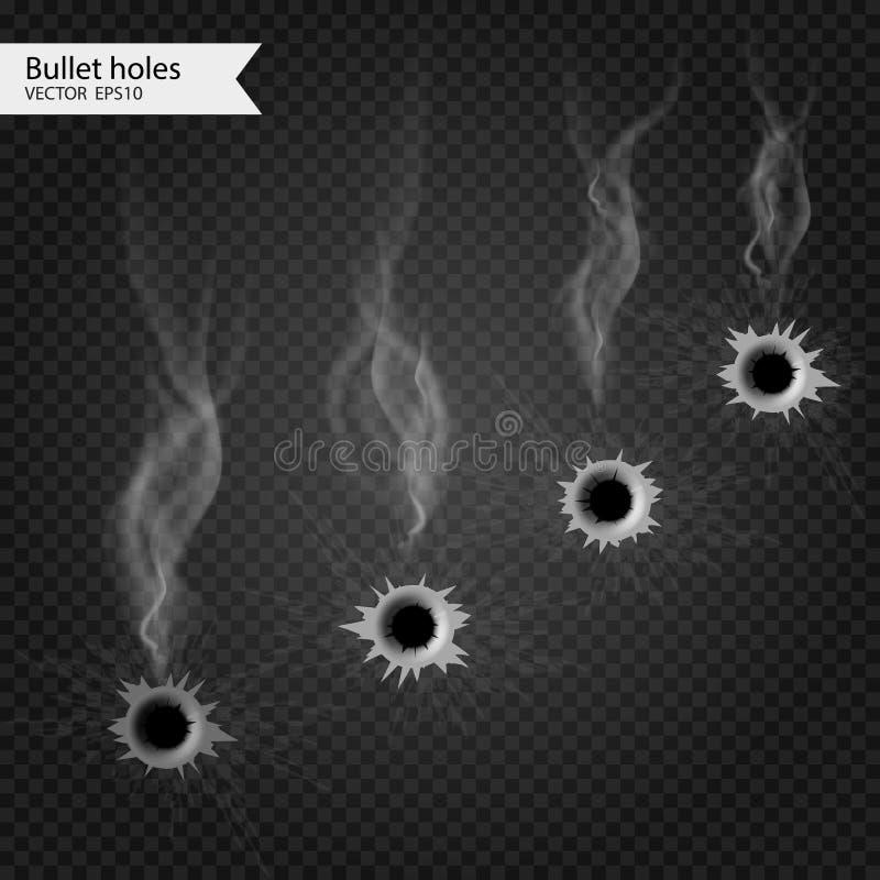 Пулевые отверстия с дымом Изолированный вектор Действительно прозрачное влияние иллюстрация вектора