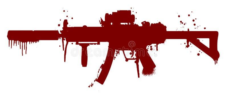 Пулемет с кровью иллюстрация вектора