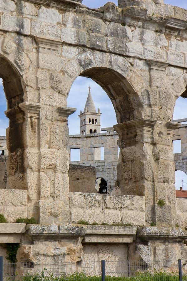 Пулы, Хорватия - римский амфитеатр - деталь стоковые фотографии rf