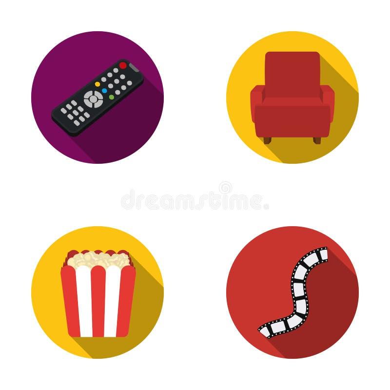 Пульт управления, кресло для осматривать, попкорн Значки собрания комплекта фильмов и кино в плоском стиле vector запас символа бесплатная иллюстрация