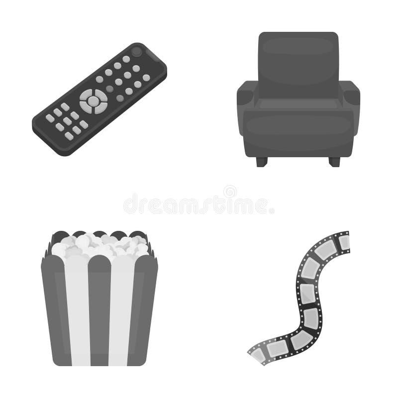 Пульт управления, кресло для осматривать, попкорн Значки собрания комплекта фильмов и кино в monochrome стиле vector символ иллюстрация штока