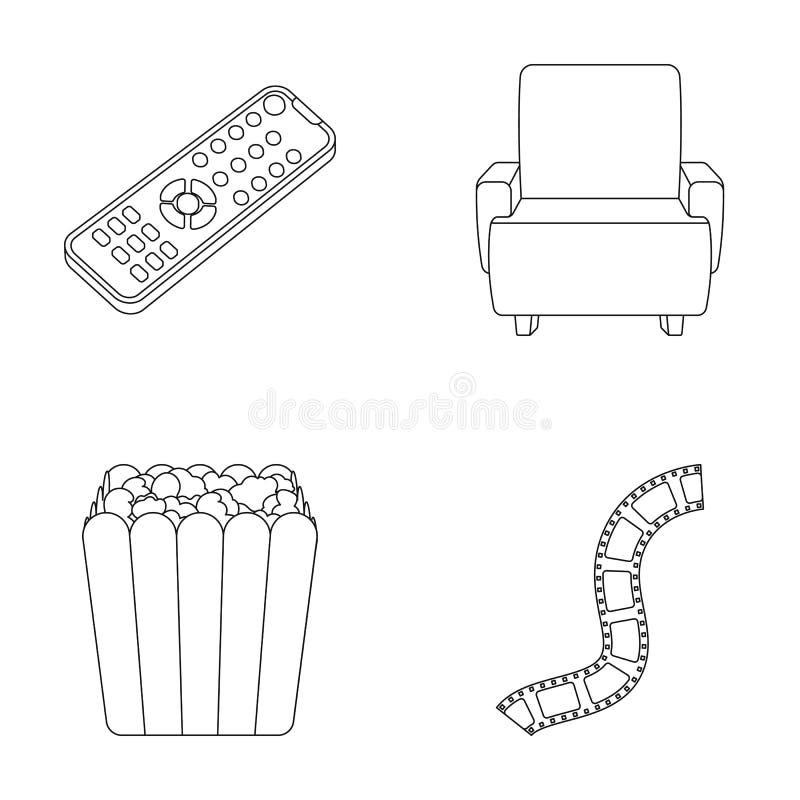 Пульт управления, кресло для осматривать, попкорн Значки собрания комплекта фильмов и кино в плане вводят символ в моду вектора иллюстрация штока