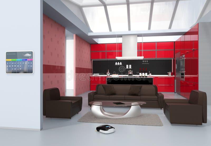 Пульт управления домашней автоматизации на стене кухни иллюстрация штока