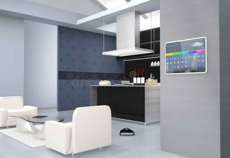 Пульт управления домашней автоматизации на стене кухни иллюстрация вектора