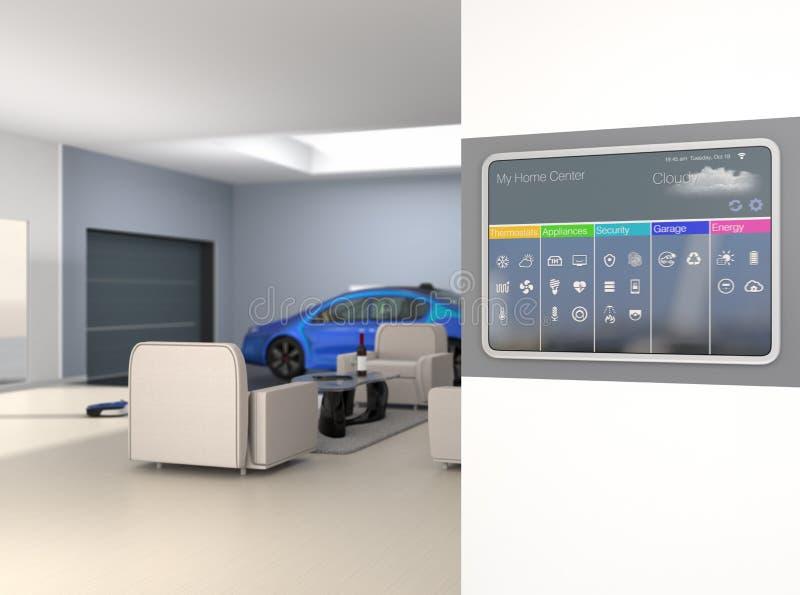 Пульт управления домашней автоматизации на стене иллюстрация вектора