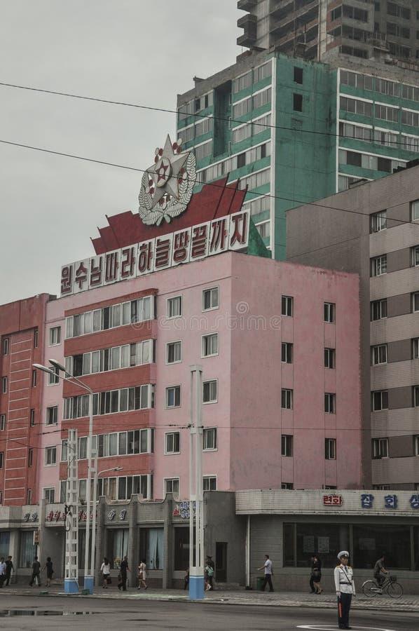 Пхеньян, Север-Корея, 09/08/2018: Городская площадь Пхеньяна стоковое фото