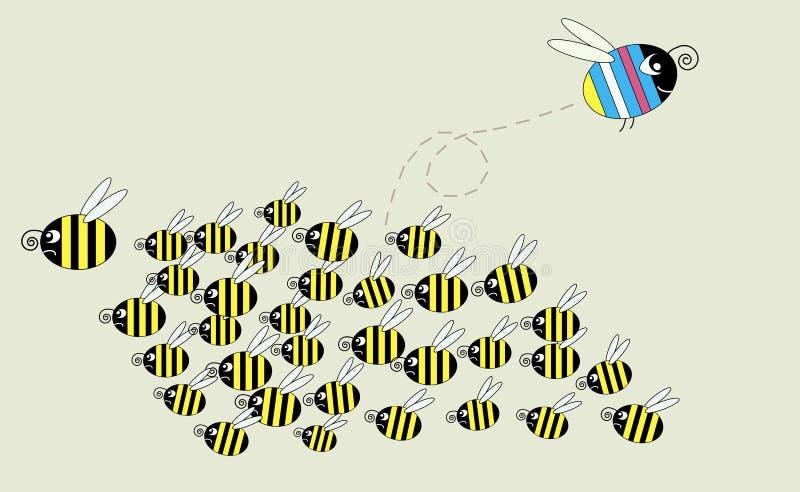 пчела освобождает иллюстрация вектора