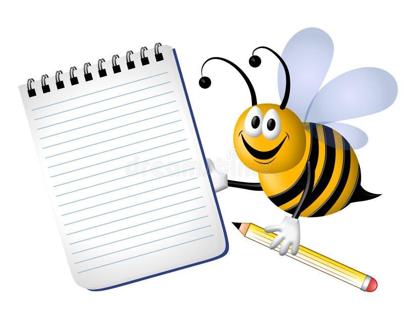 пчела путает многодельный блокнот иллюстрация вектора