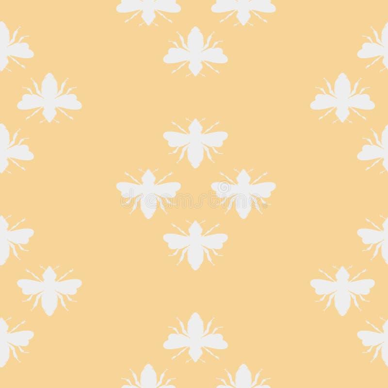 Пчелы вектора кроют формы черепицей на пастельной желтой безшовной предпосылке картины иллюстрация штока