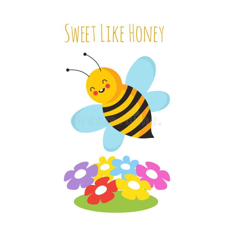 Пчелы летания шаржа рука цветка eps пчелы милая нарисованная Предпосылка вектора пчелы иллюстрация штока