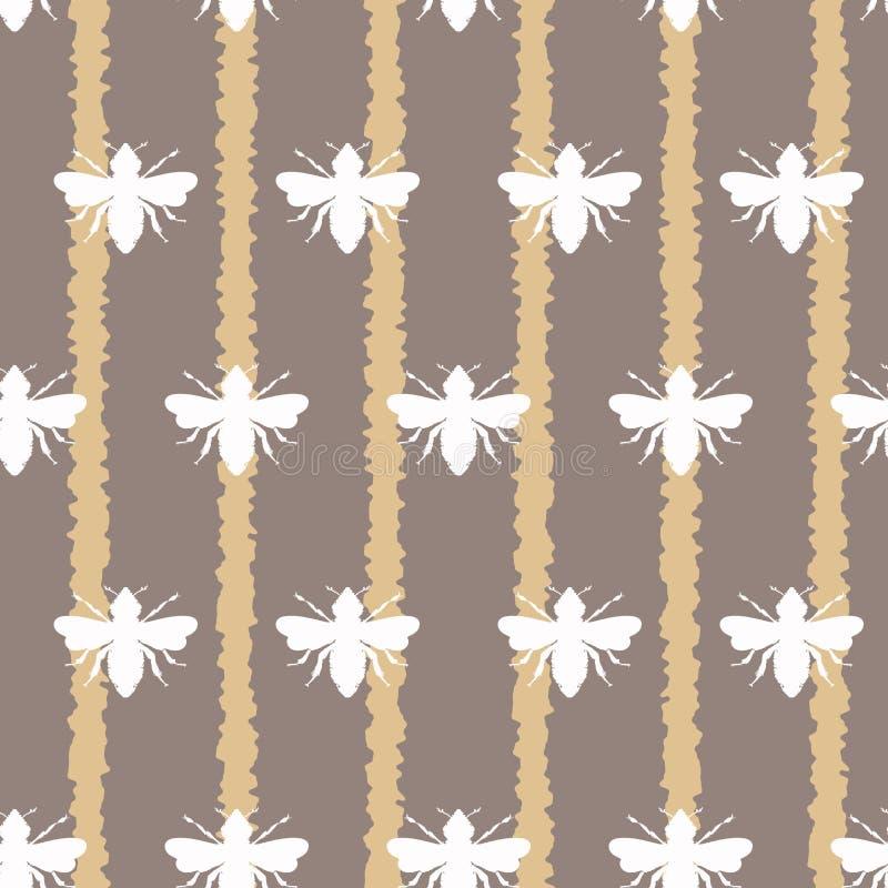 Пчелы меда вектора белые на предпосылке картины свободных нашивок безшовной иллюстрация штока