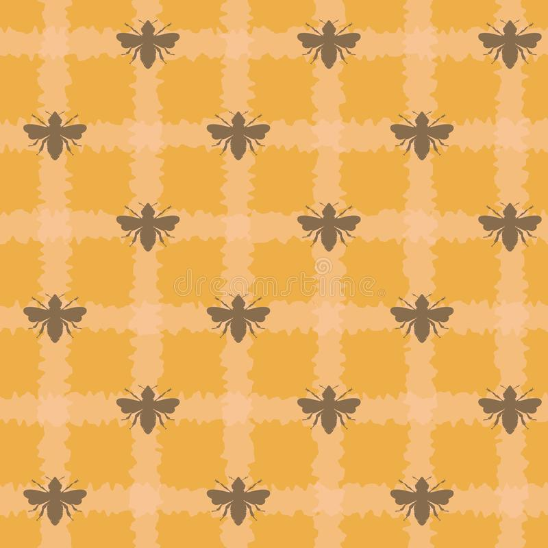 Пчелы меда вектора на предпосылке картины шотландки безшовной бесплатная иллюстрация