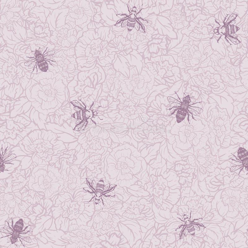 Пчелы меда вектора с розами в розовой безшовной предпосылке картины иллюстрация штока