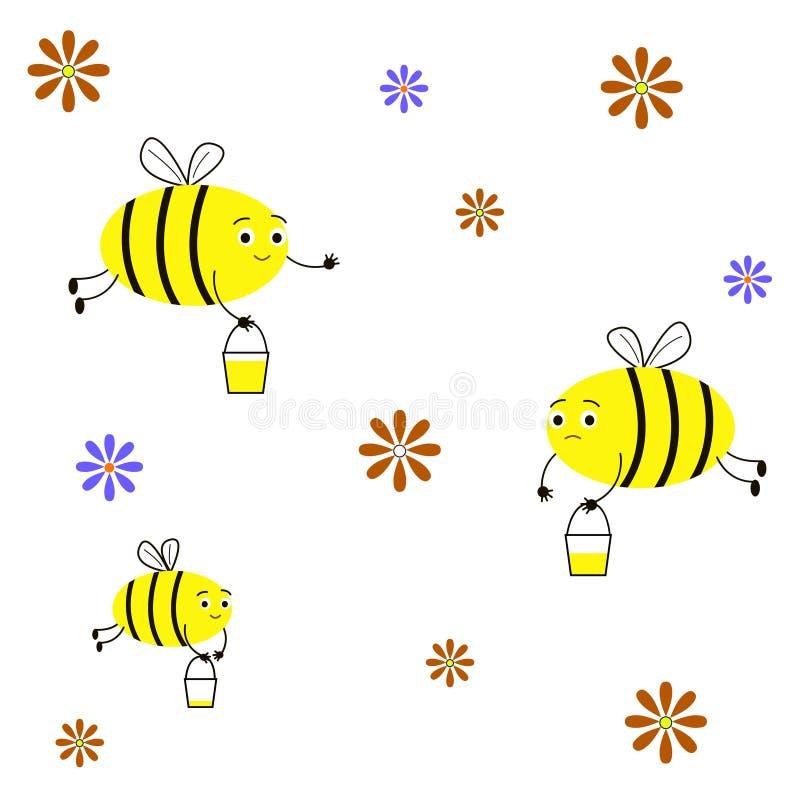 Пчелы насекомых собирают мед Смешные, милые пчелы, ведра меда, цветки иллюстрация штока