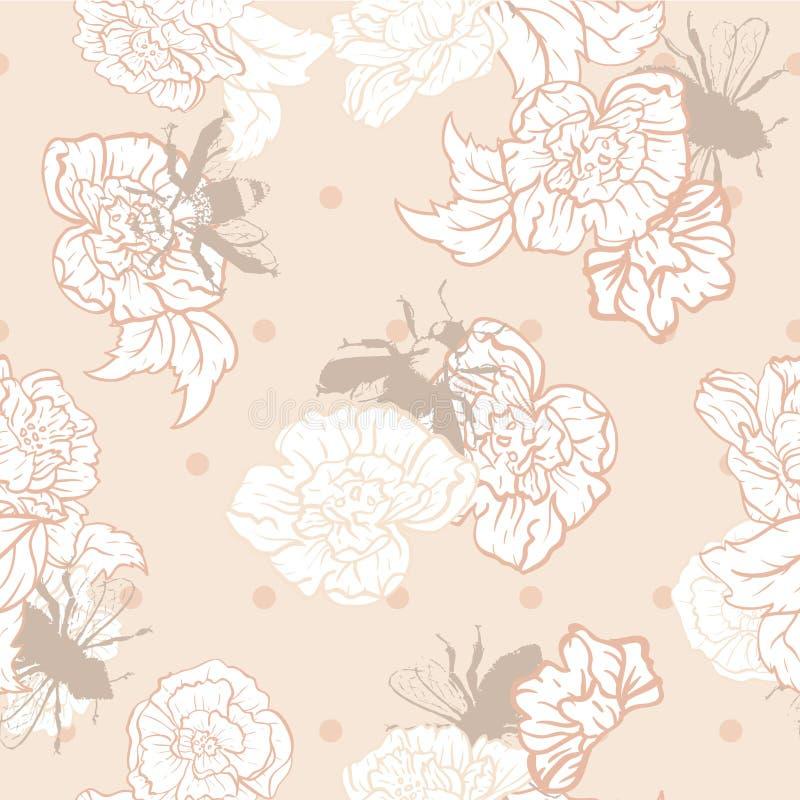 Пчелы сливк вектора с розами на предпосылке картины точек безшовной иллюстрация штока