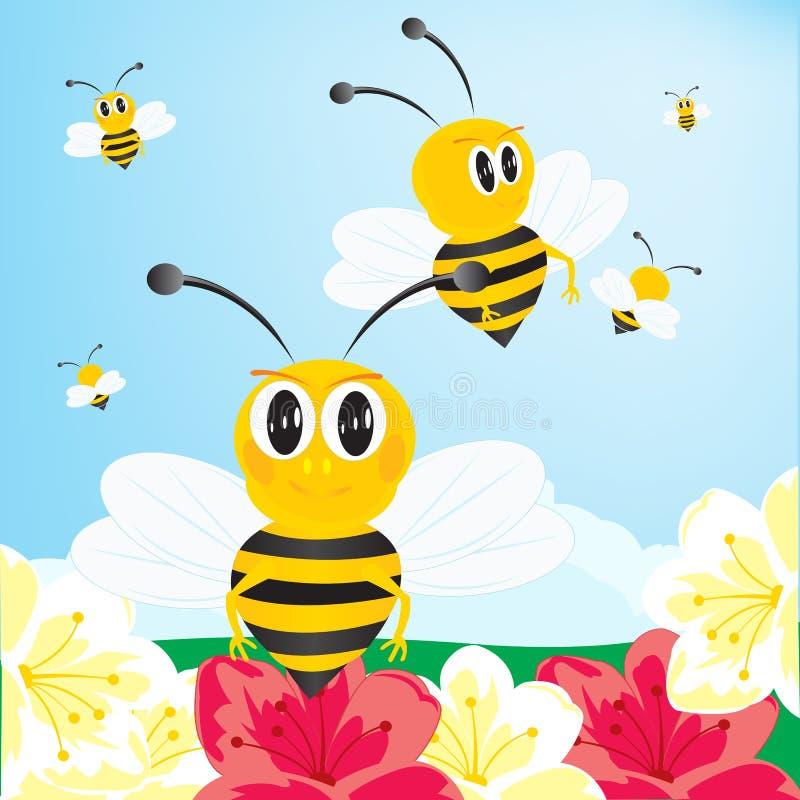 Пчелы собирают мед бесплатная иллюстрация