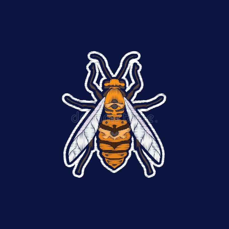 Пчела Вышивка значки заплаты fachion иллюстрация штока