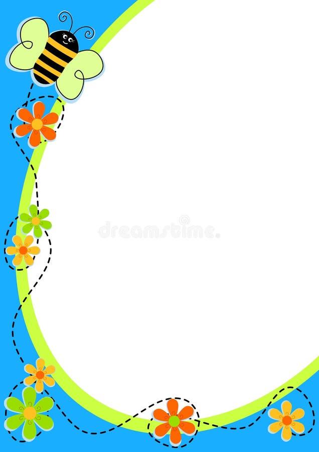 Пчела летания с рамкой цветков иллюстрация вектора