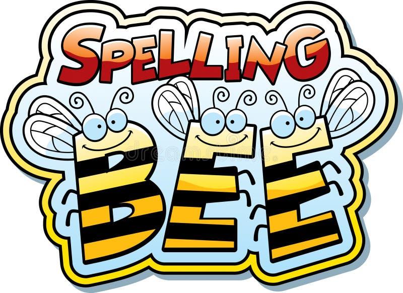 Пчела правописания шаржа иллюстрация вектора