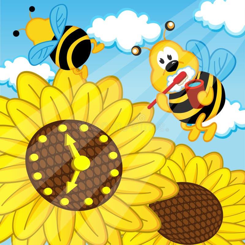 Пчела чистит взгляды щеткой зубов на солнцецвете вахты бесплатная иллюстрация