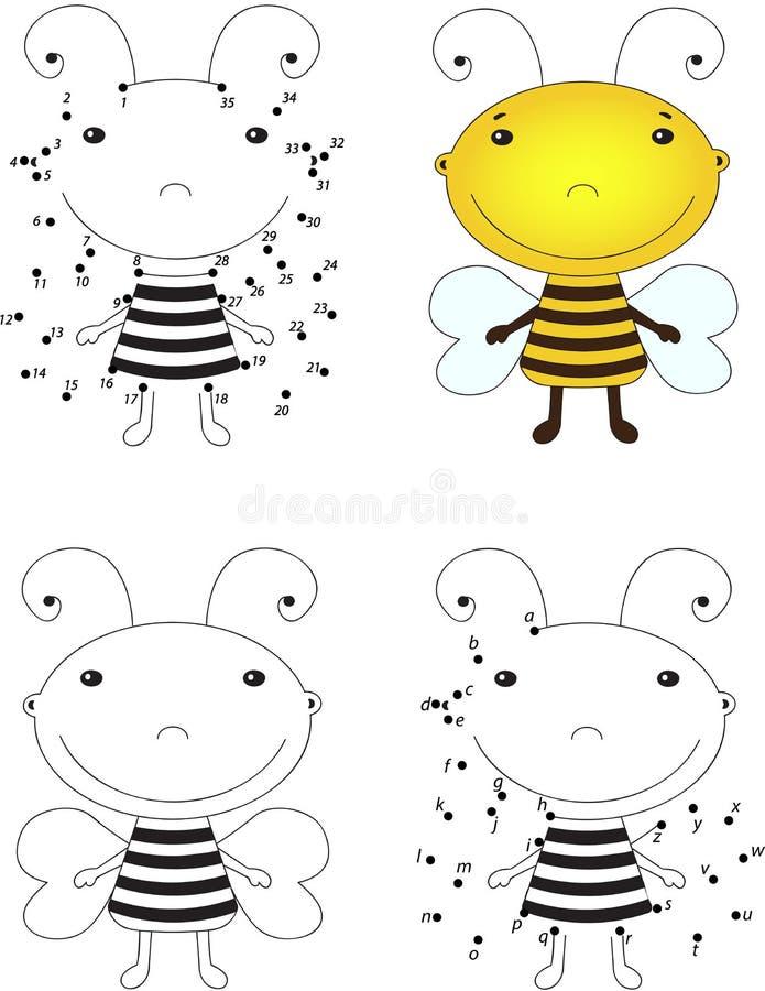 Пчела шаржа Книжка-раскраска и точка для того чтобы ...