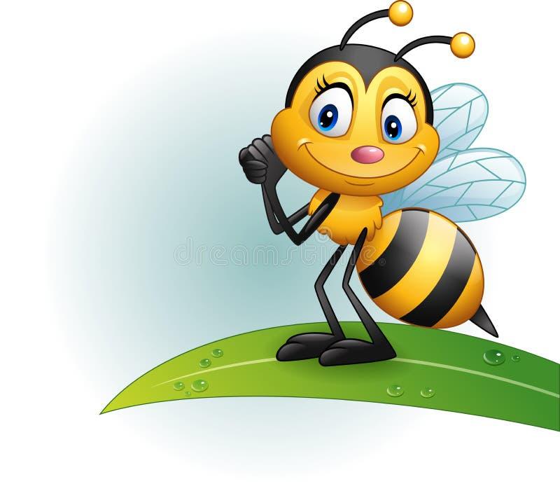 Пчела шаржа стоя на лист бесплатная иллюстрация