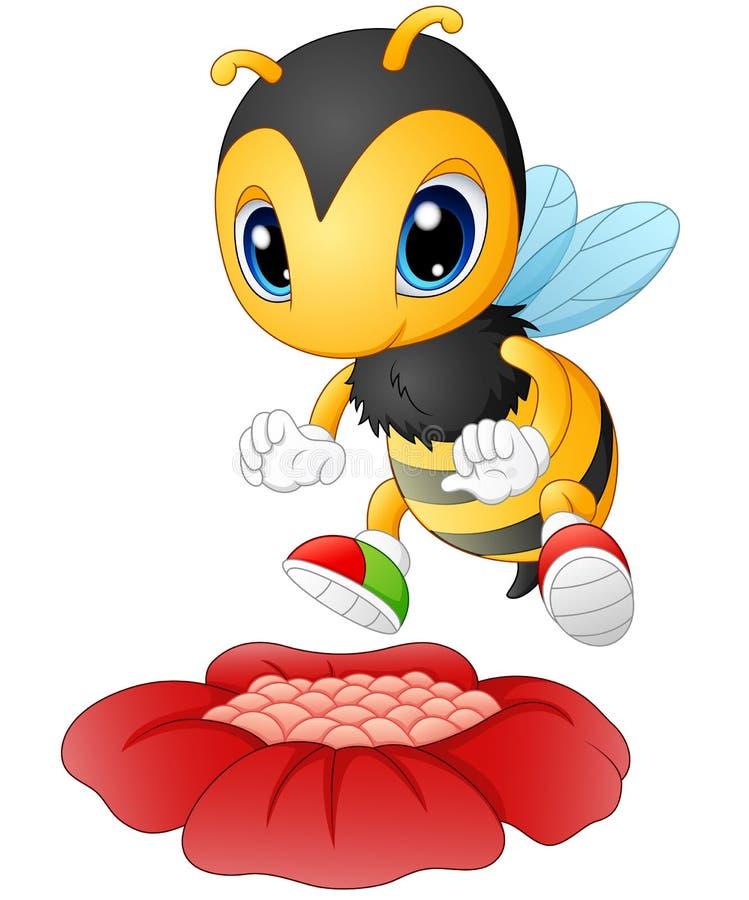 Пчела шаржа счастливая для того чтобы увидеть цветок иллюстрация вектора
