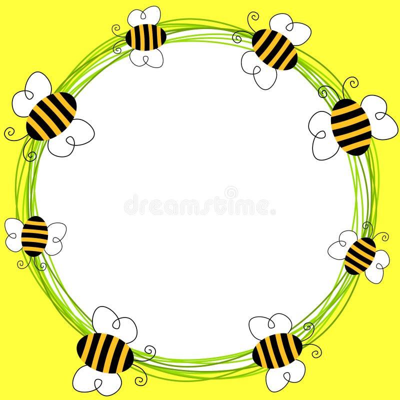 Пчелы летая рамка иллюстрация вектора
