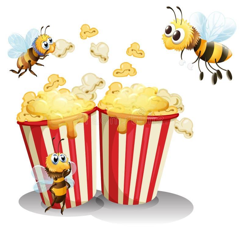 Пчелы и попкорн иллюстрация штока