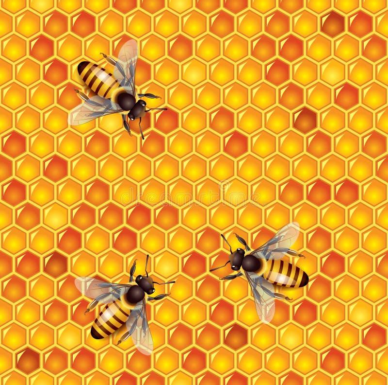 Пчелы и предпосылка honeycells безшовная иллюстрация штока