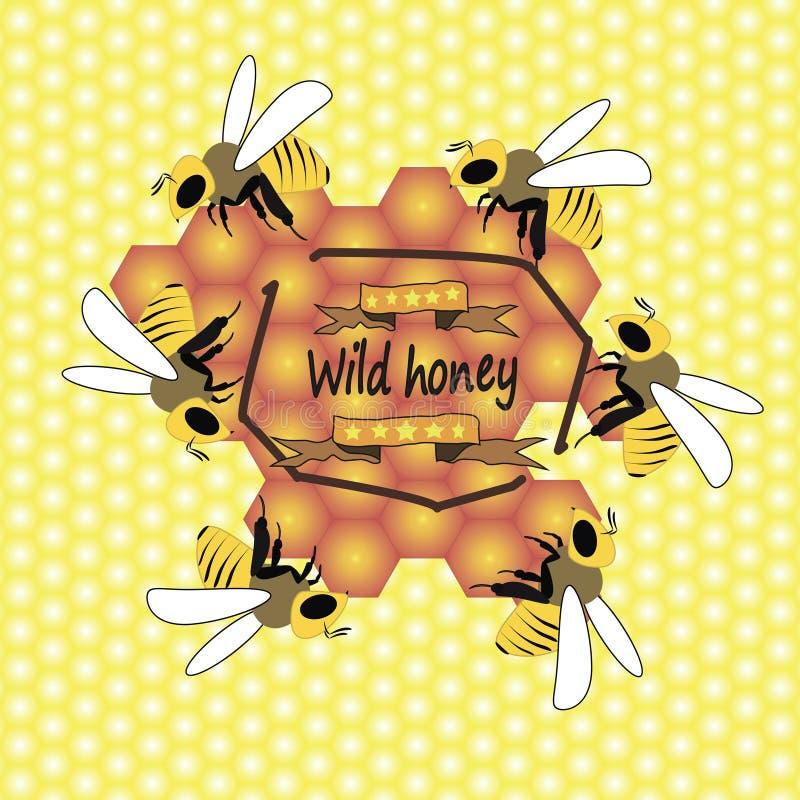 Пчелы и соты иллюстрация вектора