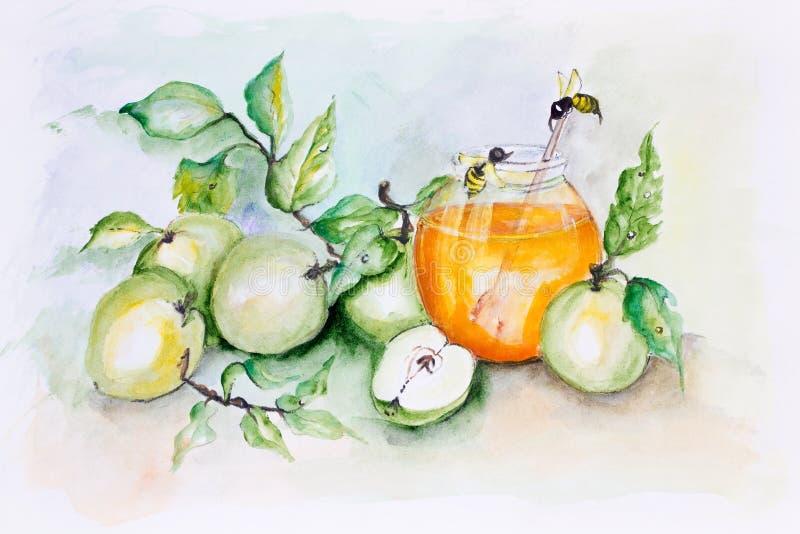 Пчелы и яблоки меда иллюстрация вектора