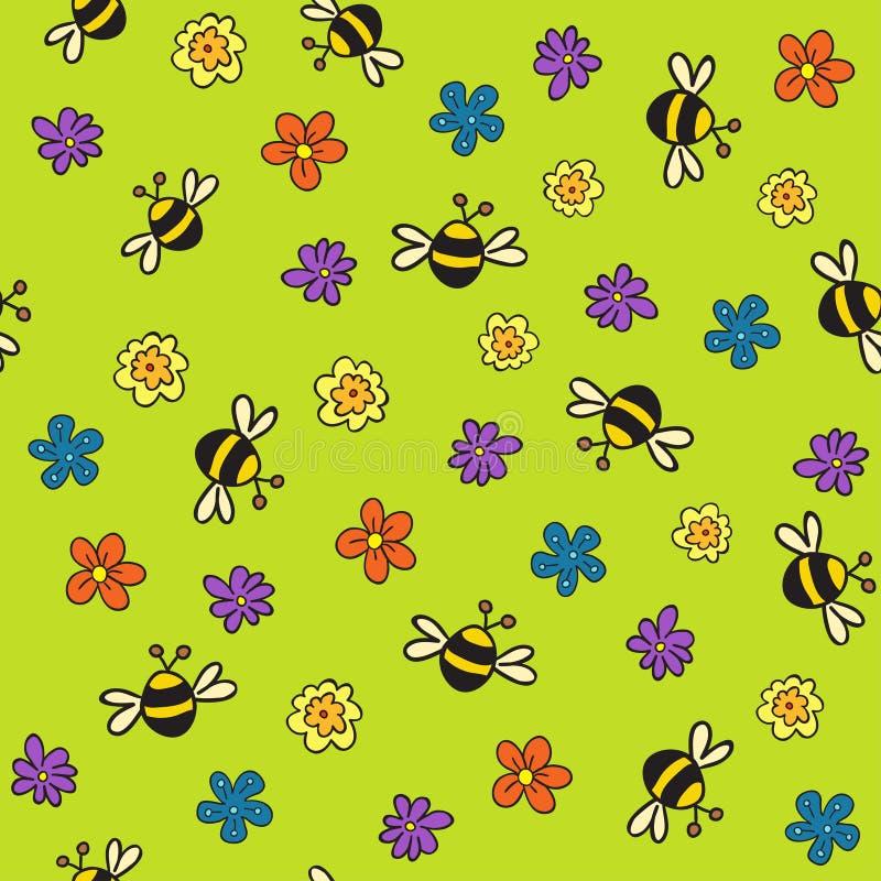 пчелы создают swatch картины палитры цветков заполнения падения безшовный просто к иллюстрация штока