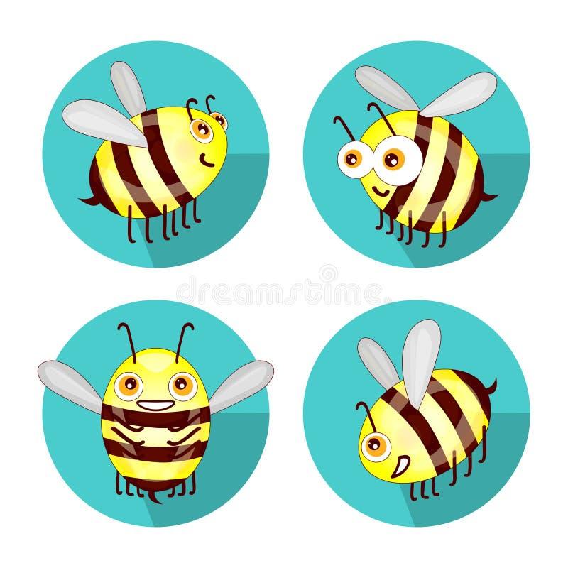 Пчелы шаржа установленные плоские изолированные на белой предпосылке иллюстрация вектора
