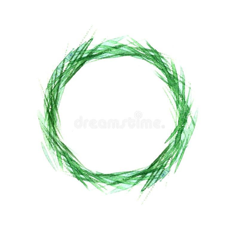 Пшеница в круге, акварель зеленого цвета травы пшеницы Дизайн пасхи иллюстрация штока