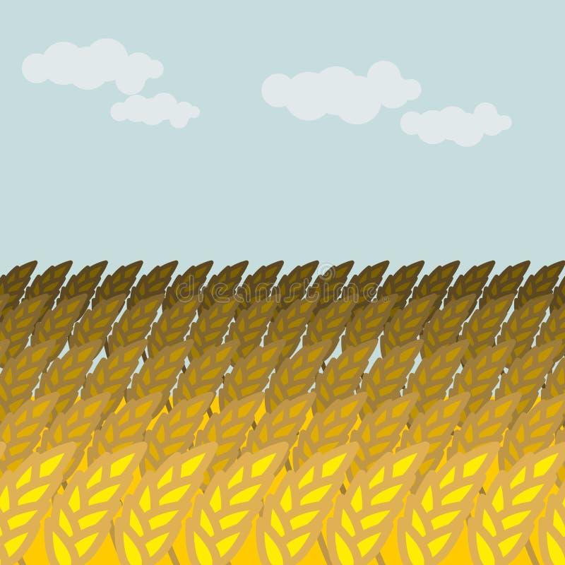 пшеница поля Поле зерна и голубое небо Спайки Rye иллюстрация штока